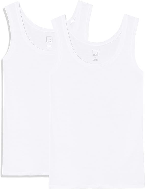 TALLA 46. Marca Amazon - MERAKI Camiseta Slim Fit Mujer Cuello Redondo, Pack de 2
