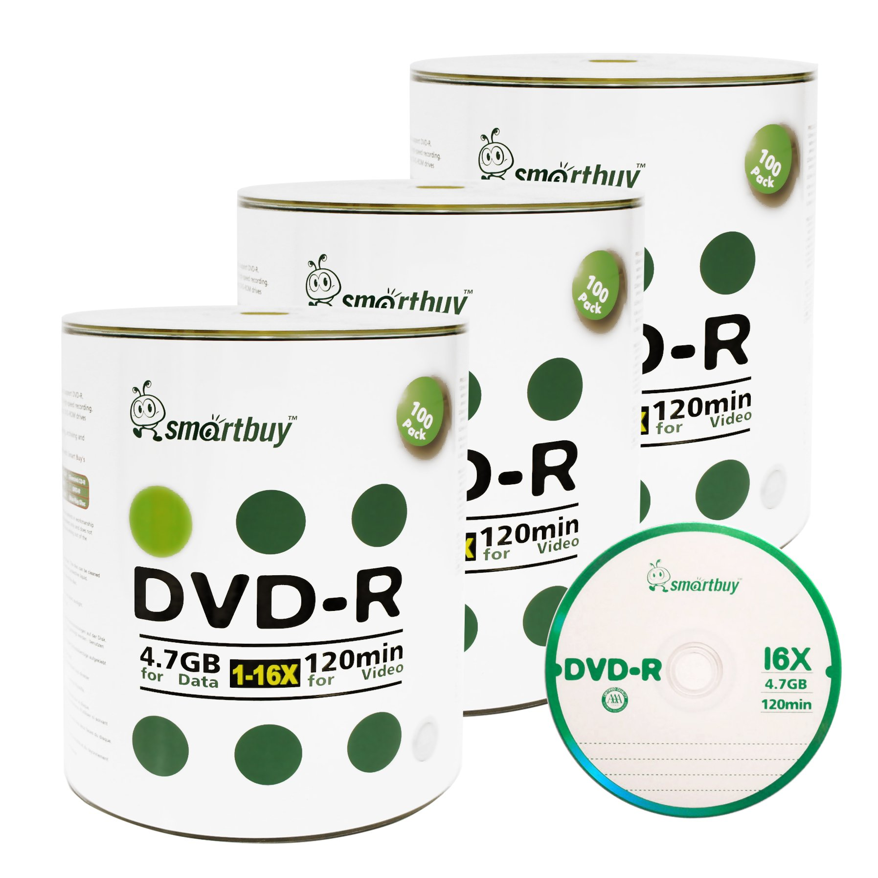 Smart Buy 300 Pack DVD-R 4.7gb 16x Logo Blank Data Video Movie Recordable Disc, 300 Disc 300pk