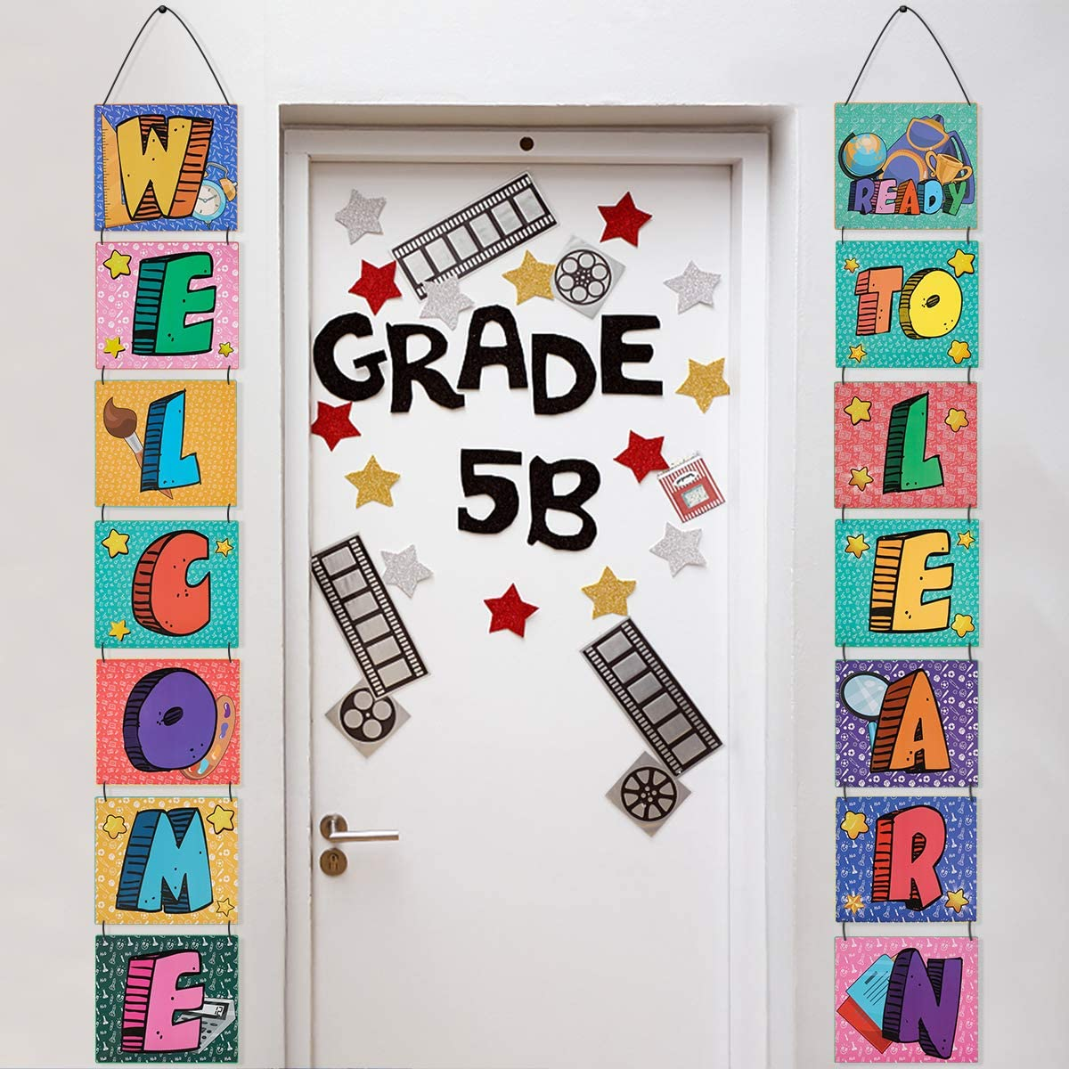 Back to School Banner, Welcome Back Banner First Day of School Banner Porch Sign Classroom Party Decorations