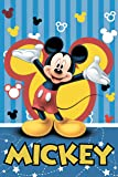 Jerry Fabrics Kids Fleece Blankets and Throws 100 x 150cm Character, Polyester, Mickey and Friends, 3