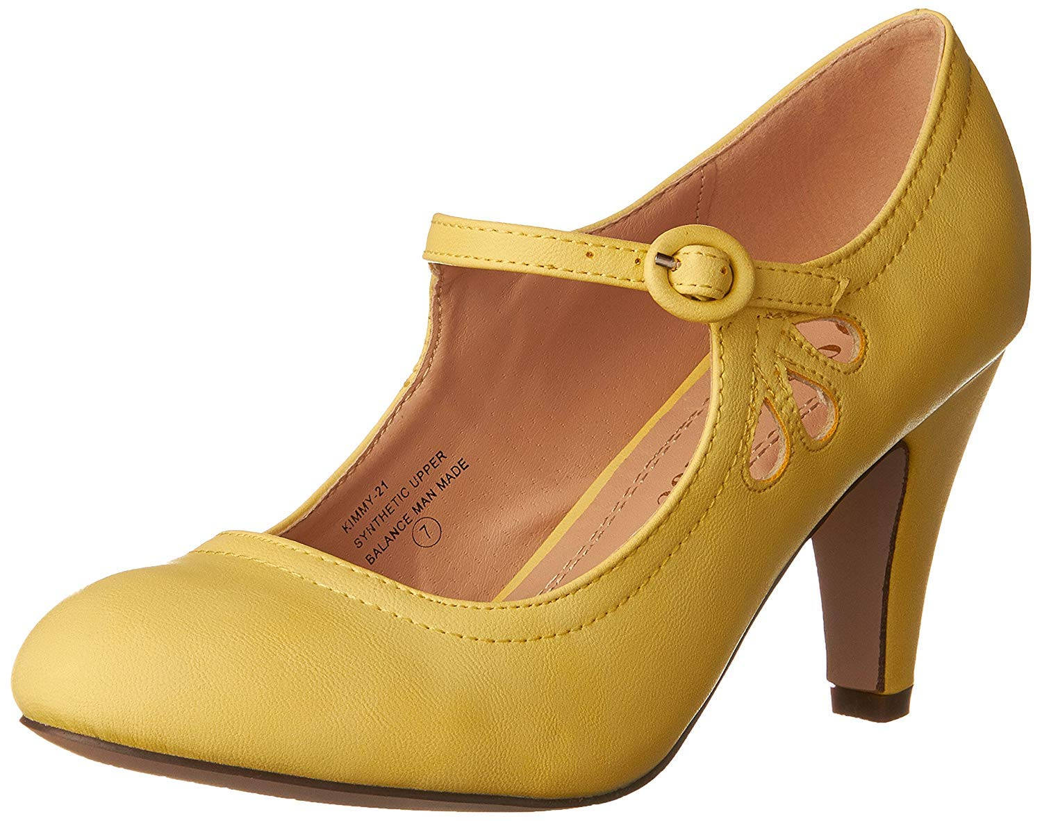 Chase and Chloe Kimmy-21 Mary Jane Teardrop Cutout T-Strap Pump Heel (5.5 M US, Yellow) by Chase & Chloe