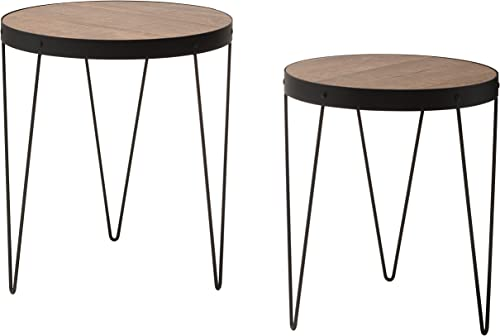OSP Designs Pasadena Nesting Accent Tables Set with Rustic Wood Top and Metal Frame 2 Pack , Calico Matte Black