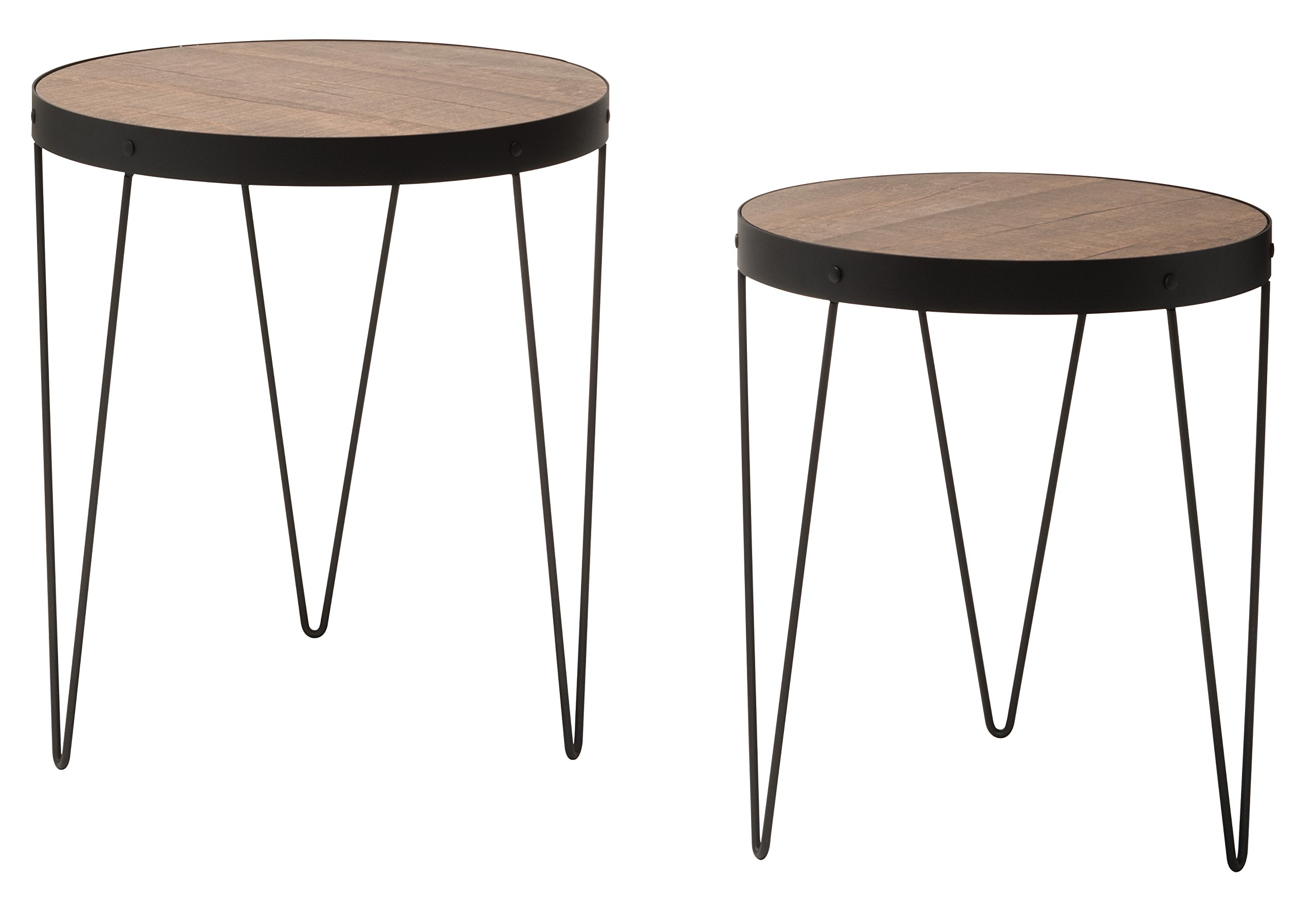 OSP Designs PASA7920-SBC-osp Pasadena Nesting Accent Tables Set with Rustic Wood Top and Metal Frame (2 Pack), Calico/Matte Black