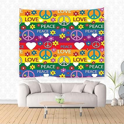 Amazon Com Nalahome Groovy Decorations Heart Peace Symbol Flower
