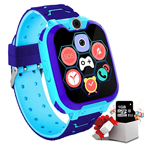 """Kids Game Smartwatch for Boys Girls – Kids Smart Watch with Call SOS Camera 7 Games Alarm Clock Music Record 1.54"""" Touch Screen with [1GB Micro SD ..."""