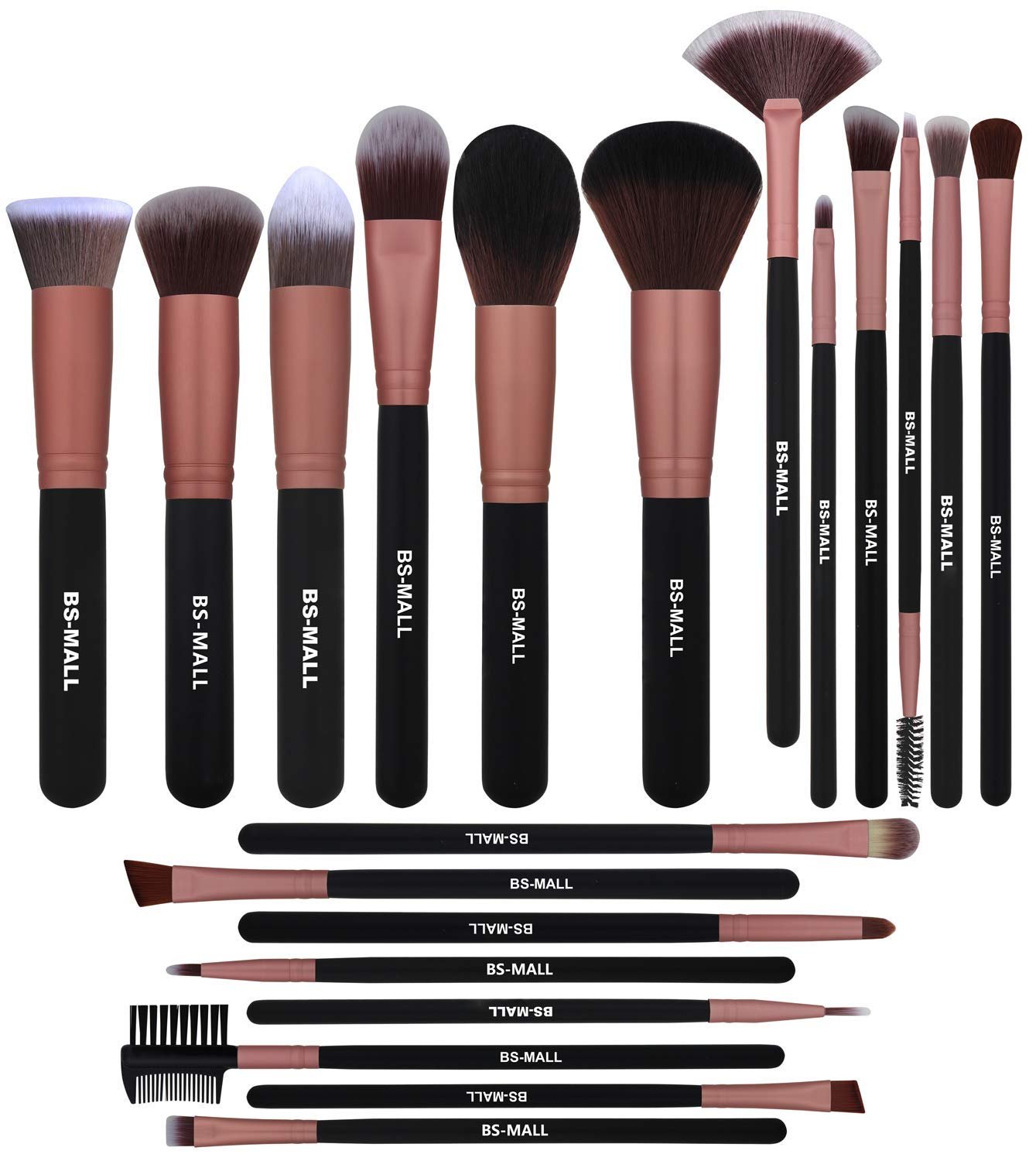BS-MALL Premium Synthetic Kabuki Brush - Eye Make Up Brushes - Makeup Brush Set (20 Pcs,Rose Golden)