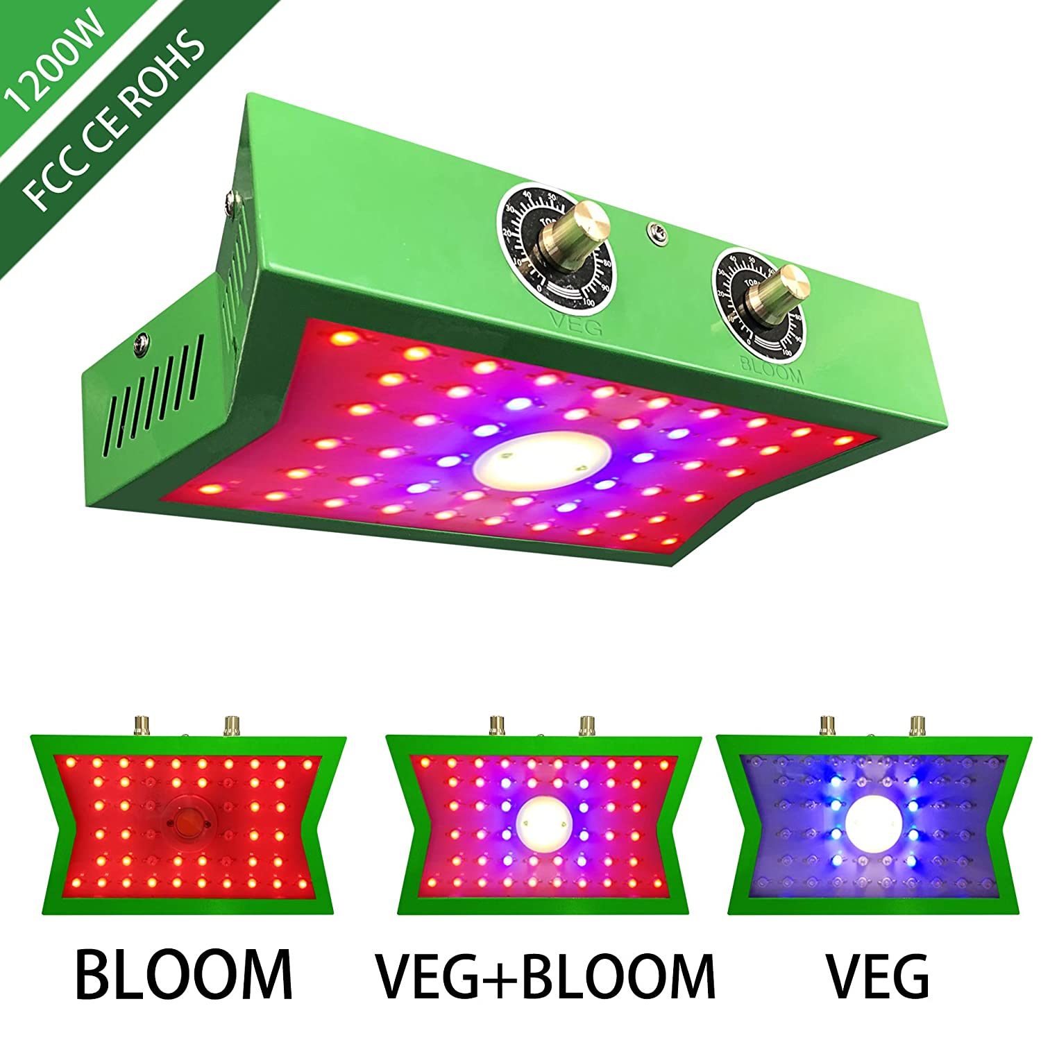 COB LED Grow Light 1200W, Adjustable Veg Bloom Switch Full Spectrum Growing Lamps Double Chips for Indoor Plants Hydroponics Greenhouse Fruits Veg and Flowers Growing Light Fixtures