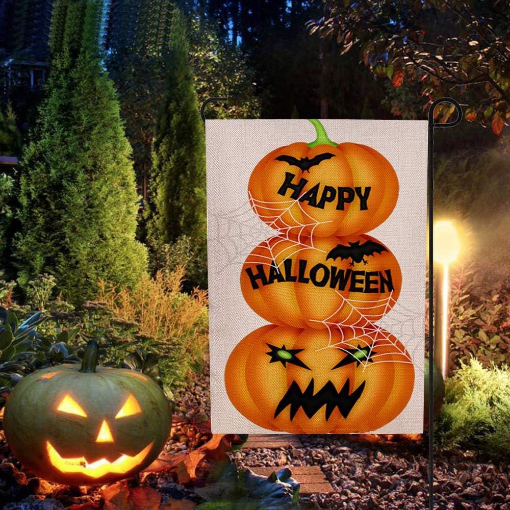 DmHirmg Halloween Garden Flag Pumpkin cat Double-Sided Pattern Printing Weatherproof Garden Flag Halloween Decoration for Home