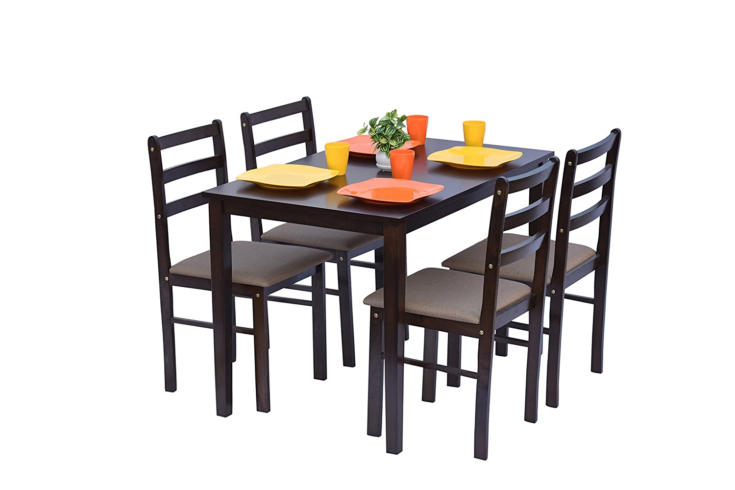 Deckup haven rubber wood and wenge 4 seater dining table set 110x70x74cm brown amazon in home kitchen