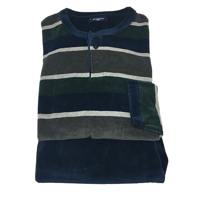 in vendita b3c2c 36b3c GUASCH pigiama uomo ciniglia cotone blu/verde/grigio mod ...