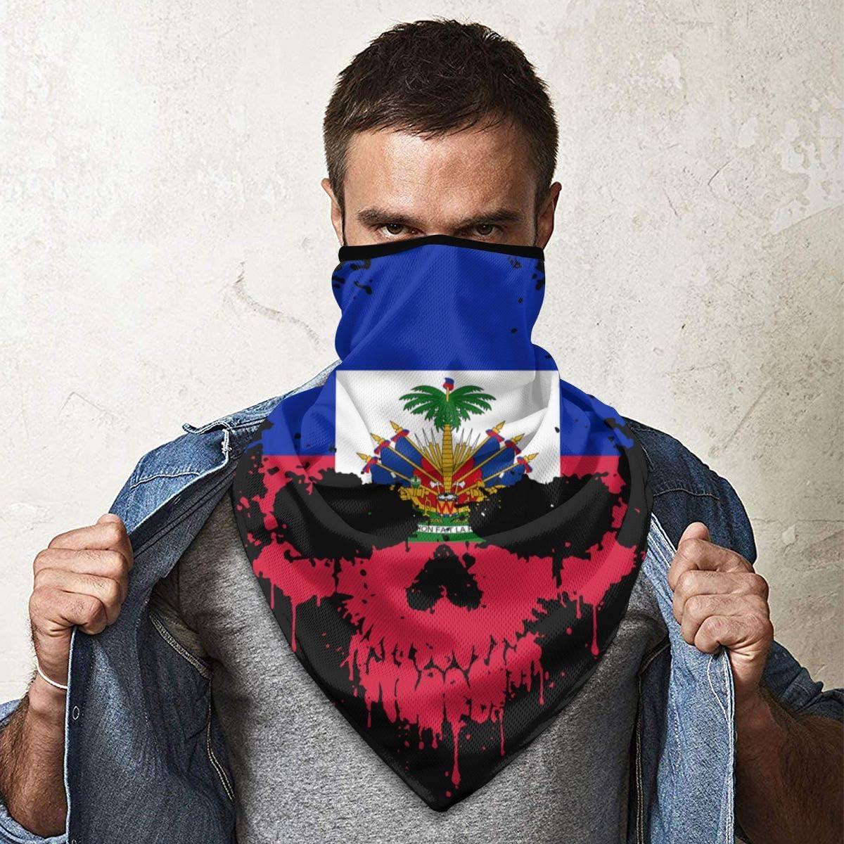 B07YDWBNJJ Haitian Haiti Skull Flag Face Mask Neck Gaiters Bandana Scarf Balaclava Multifunctional Headwear for Outdoor Sports Black 61UwPK8bq2L