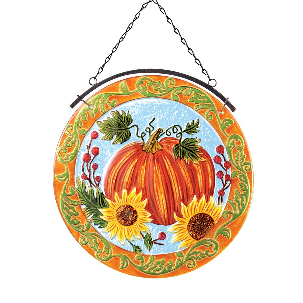 Collections Etc Harvest Pumpkin Hanging Glass Suncatcher