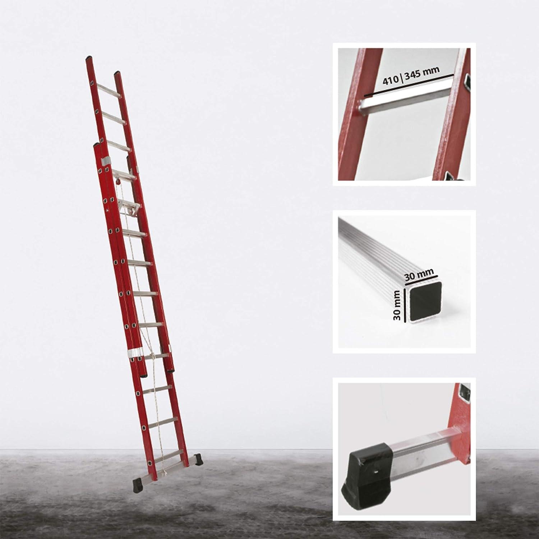Escalera Transformable Dos Tramos de Fibra de Vidrio con Cuerda (3,0 Mts_2x10 Peldaños): Amazon.es: Bricolaje y herramientas