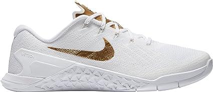 Nike Metcon 3 Amp Zapatillas de Entrenamiento para Mujer, Blanco/Metálico Dorado, Talla