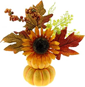Gresorth Artificial Stacked Tower Pumpkin with Fake Maple Leaf and Sunflower, Christmas Berry for Halloween Decoration