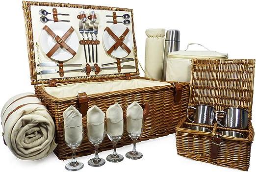 Ideas de regalos para cumplea/ños con manta de lana crema y accesorios Cesta de picnic para 4 personas de Sutton aniversario y felicitaciones