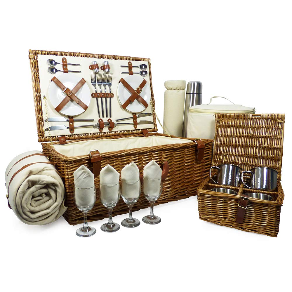 Quality Sandringham 4 Person Wicker Picnic Basket Set with Accessories - Gift Ideas for Dad, Fathers Day, him, her, Birthday, Wedding, Anniversary, Corporate, Business, Thank You, Family, Vacation