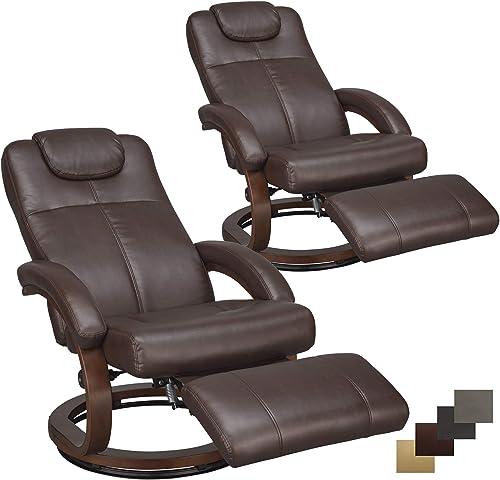 Charles 28 RV Euro Chair Recliner Modern Design RV Furniture RV Recliner 2 Chairs, Mahogany