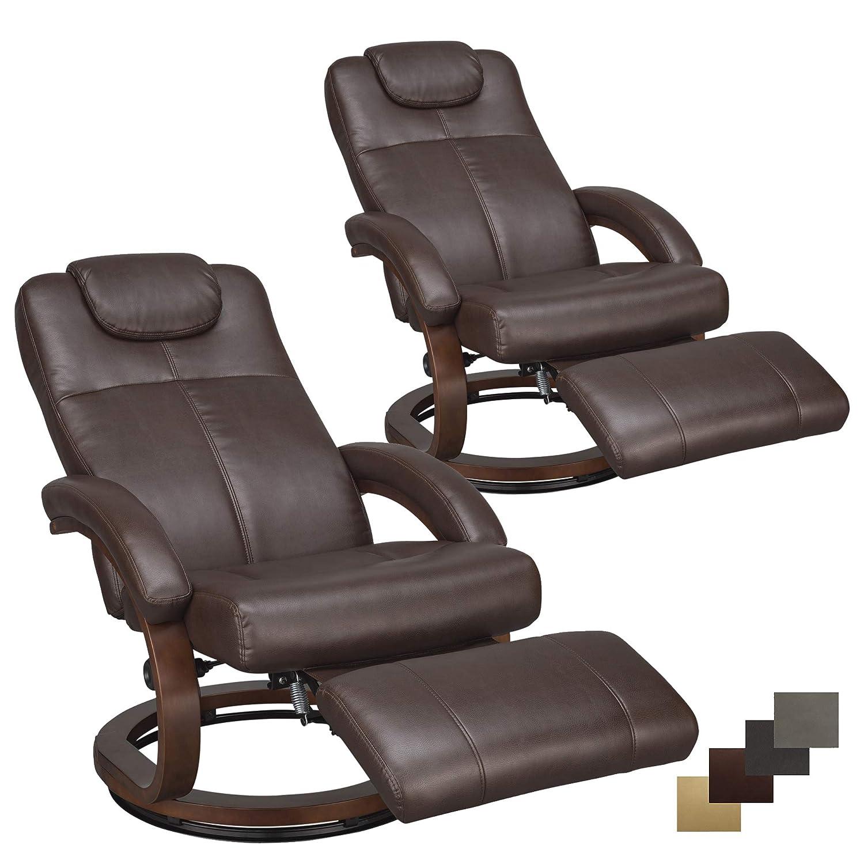 "RecPro Charles 28"" RV Euro Chair Recliner Modern Design RV Furniture (2, Mahogany)"