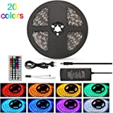 Ruban Led rgb 5m non-Imperméable IP20 bande led rgb SMD5050 10mm 300leds Multicolore bande led 12V LEDMO Télécommande à infrarouge 44 touches + Alimentation 5A 12V