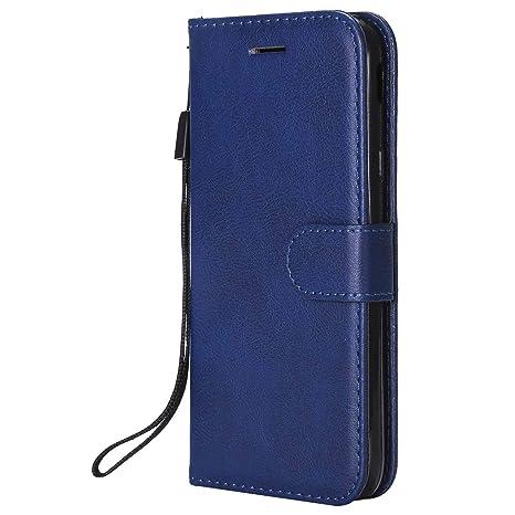 DENDICO Funda Galaxy J3 2017, Flip Libro Cuero Carcasa, Diseño Clásico Funda Plegable Cover para Samsung Galaxy J3 2017 - Azul Marino