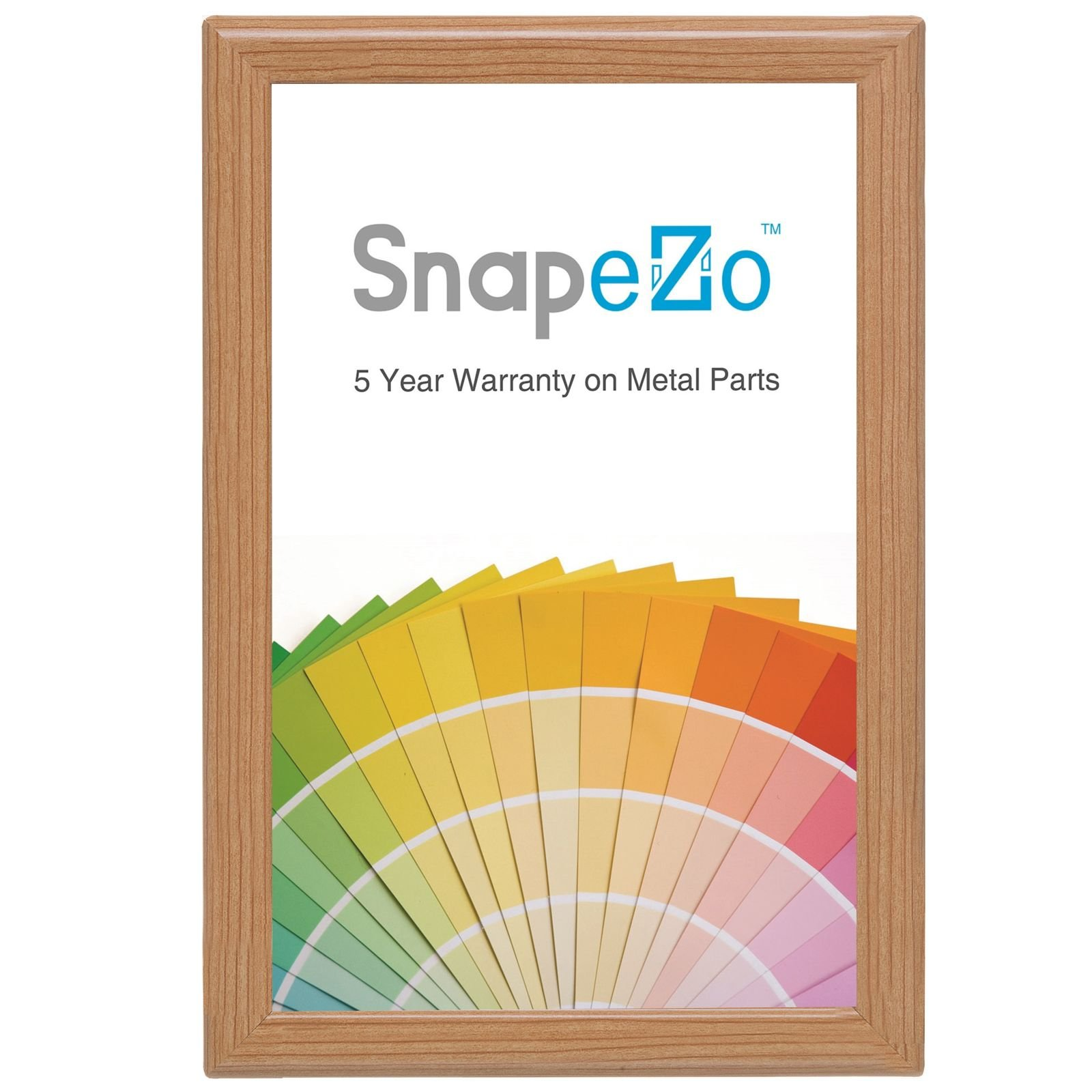 SnapeZo Notice Frame 11x17 Inches, Light Wood Effect 1.25'' Aluminum Profile, Front-Loading Snap Frame, Wall Mounting, Professional Series