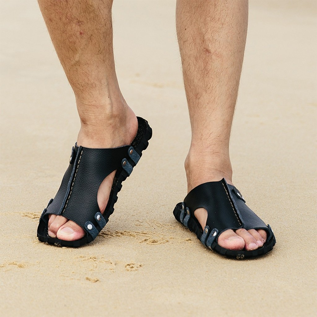 Pantofole DWW Sandali da Uomo in Pelle Antiscivolo in Gomma per Esterni in Pelle Estiva da Spiaggia (Colore : A, Dimensioni : EUR:43)