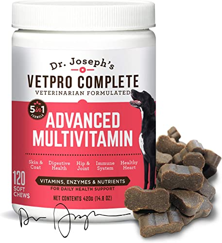 VetPro Complete 5 in 1 Multivitamin for Dogs – Chondroitin, MSM, Turmeric, Vitamin C, Omega 3, Grain Free Multivitamin for Skin and Coat Health, Joint Health, Improved Digestion, Heart Health Immunity