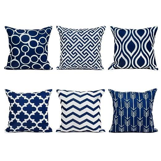Watopi - Juego de 6 fundas de almohada geométricas de color ...