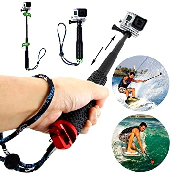 Waterproof Telescoping Selfie Stick Pole Floating Hand Grip for 4//3+//3