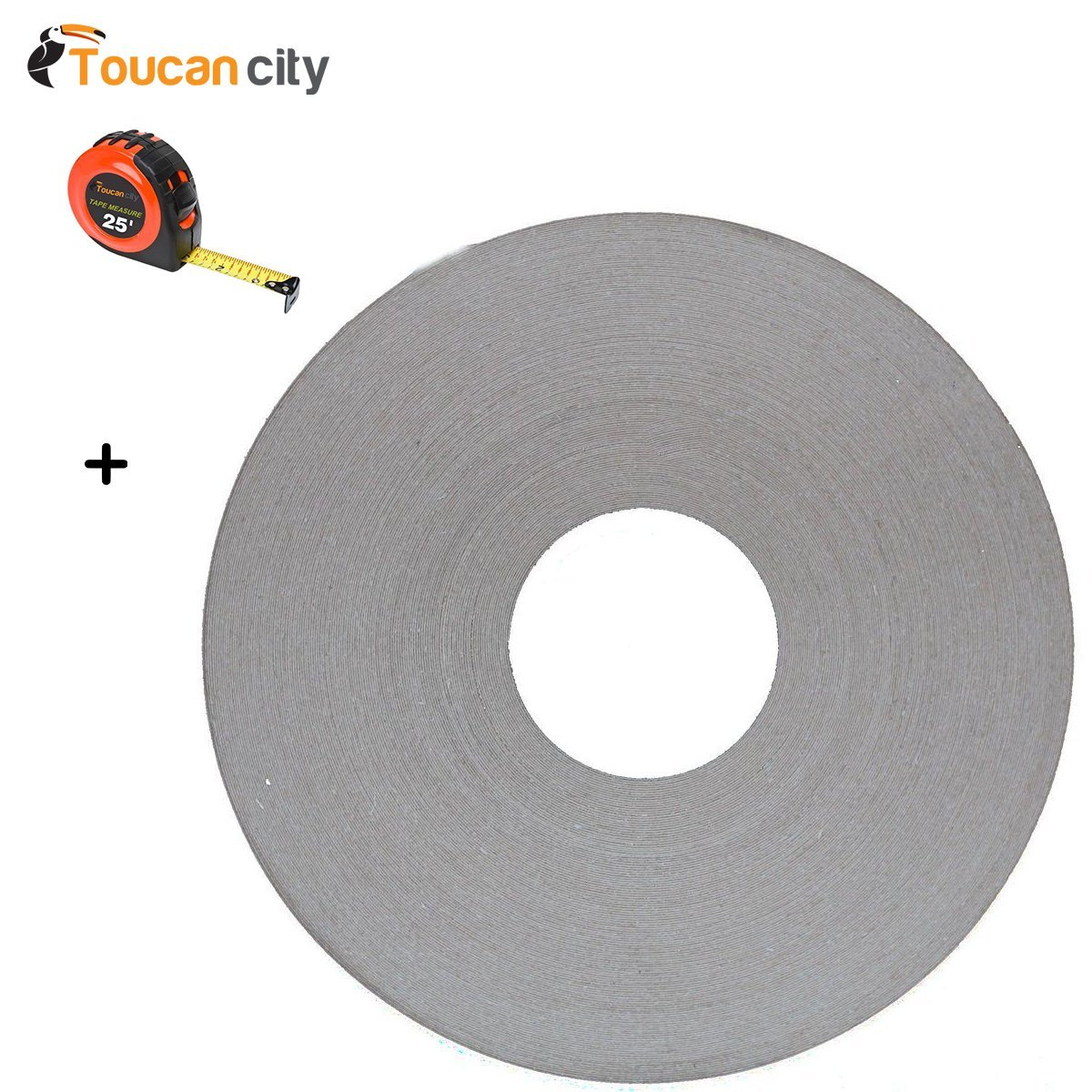 Toucan City Tape Measure and 13/16 in. x 250 ft. White Melamine Edgebanding with Hot Melt Adhesive 03white