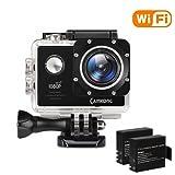 """CAMKONG wifi Action Cam Impermeabile Sport Camera Full HD 1080P 14MP 170° Grandangolare 2.0"""" LCD Screen con Vari Kit Accessori Bianco con Due 1050mAh Batterie"""