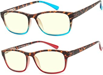dd7d4ba504b Computer Glasses 2 Pair Anti Glare Anti Reflection Spring Hinge Ombre Color  Computer Reading Glasses for