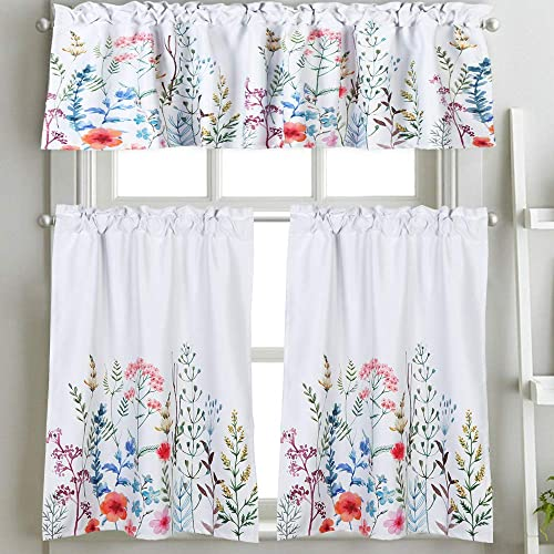Lahome Weeping Flower Tier Curtain – Bright Floral Blooming Pattern Half Window Valances Room Darkening Rod Pocket Tailored Tier Cafe Curtain Panels 29 W x 36 L Pair, Flower