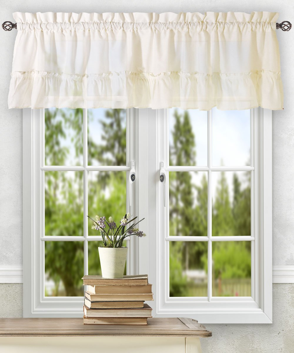 Ellis Curtain Stacey 54-by-13 Inch Ruffled Filler Valance (Almond)