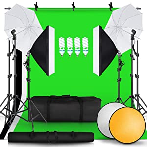 SH 2.6M x 3M/8.5ft x 10ft Background Support System and 4 x 85W 5500K Bulbs, Umbrellas Softbox Continuous Lighting Kit for Photo Studio Product,Portrait and Video Shoot Photography