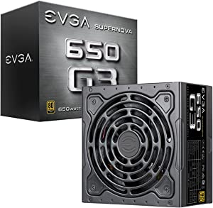 EVGA 220-G3-0650-Y1 SuperNOVA 650 G3, 80 Plus Gold 650W, Fully Modular, Eco Mode with New HDB Fan, 7 Year Warranty, Includes Power ON Self Tester, Compact 150mm Size, Power Supply