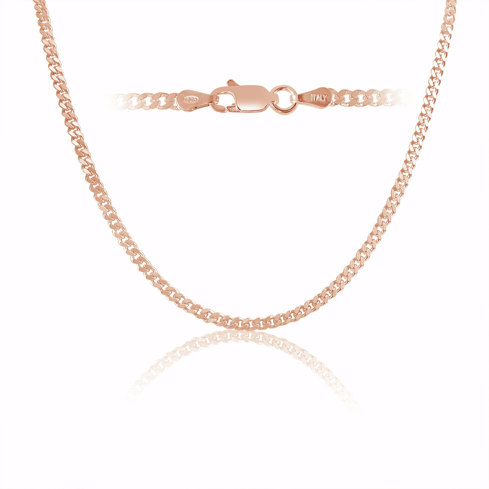 Rose Gold Plated Sterling Silver Curb Link Chain necklace 3mm Italy 18 inch