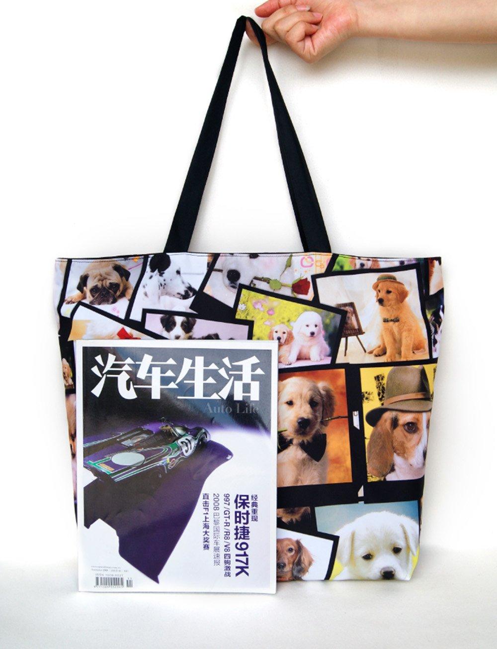 Newplenty Ladies Zippered Light Shoulder Shopping Tote Bag Handbag Beach Satchel, Many Dogs by newplenty (Image #7)