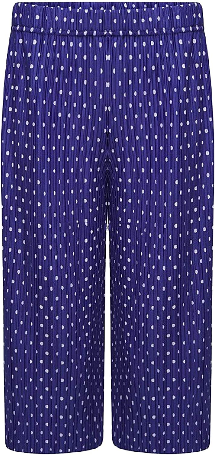 Rimi Hanger Womens 3//4 Crinkled Polka Dot Wide Leg Cullotes Trouser Ladies Party Wear Pants US 8-22