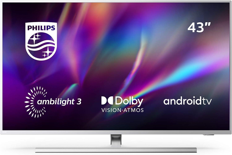 Televisor Philips Ambilight 43PUS8505/12, Smart TV de 43 pulgadas (4K UHD, P5 Perfect Picture Engine, Dolby Vision, Dolby Atmos, Control de voz, Android TV), Color plata claro (modelo de 2020/2021): Amazon.es: Electrónica