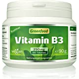Greenfood Vitamin B3 Niacinamid (flushfree), 250 mg, hochdosiert, 180 Tabletten, vegan – für mehr Energie und gute Laune. OHNE künstliche Zusätze. Ohne Gentechnik.