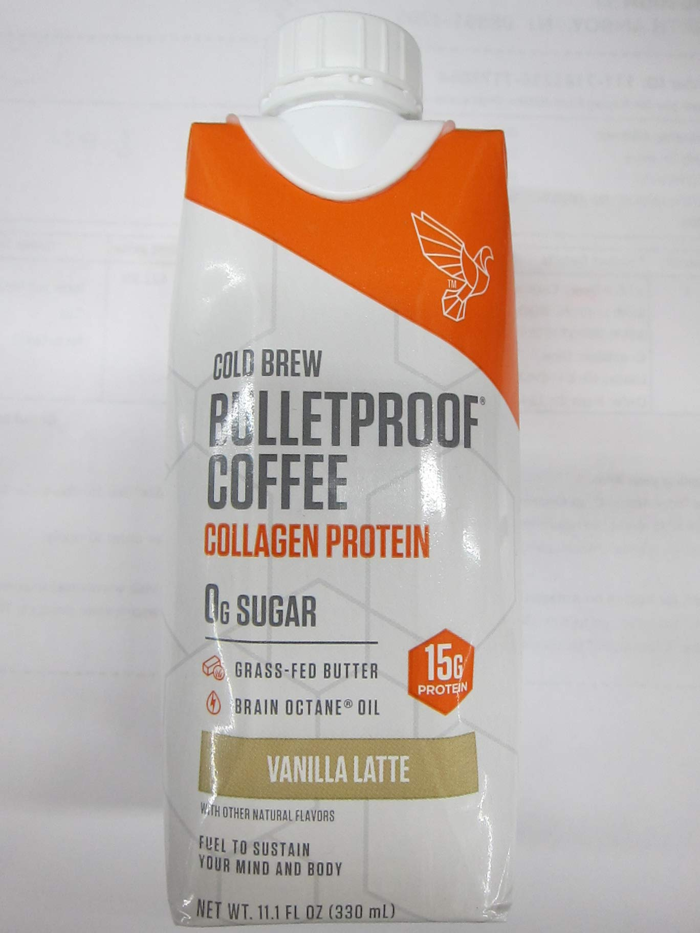 Bulletproof Coffee Cold Brew Collagen Protein Unsweetened, Vanilla Latte, 11.1 fl oz (Pack of 2)