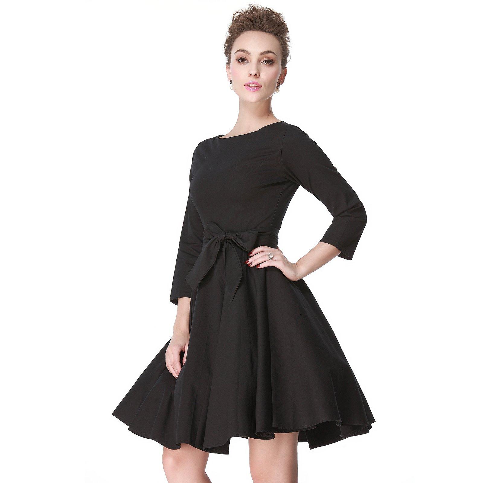 Heroecol 50s 60s Hepburn 3/4 Sleeve Style Vintage Retro Swing Rockailly Dresses Size XL Color Black by Heroecol (Image #4)