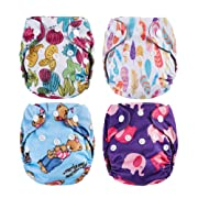 Thank u Mom Pocket Newborn Cloth Diapers for Less Than 12pounds Baby 4 Pack (Girls Prints)