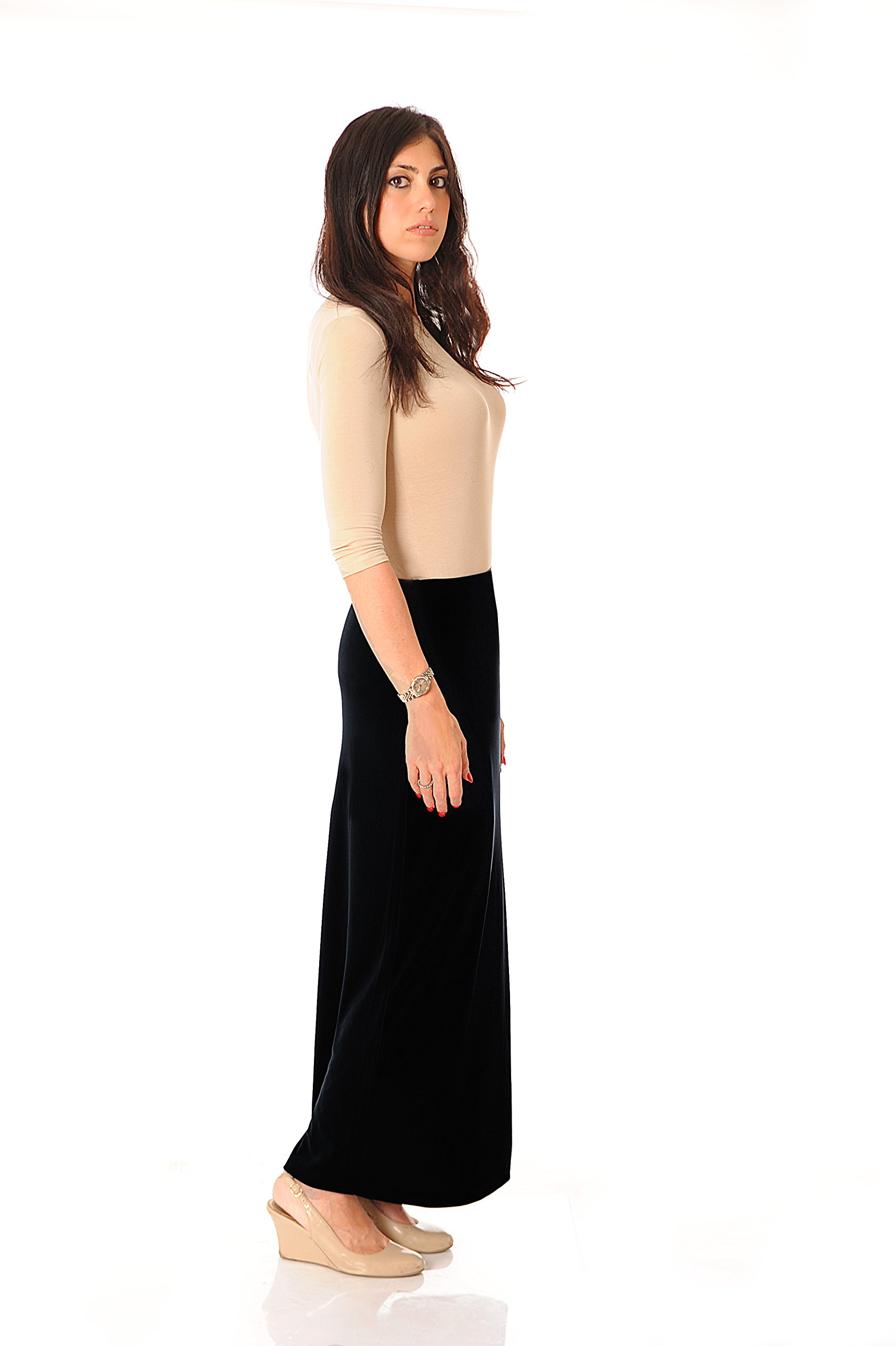 Monte Carlo maxi ITY Modest Long Slinky Skirt (14, Black)