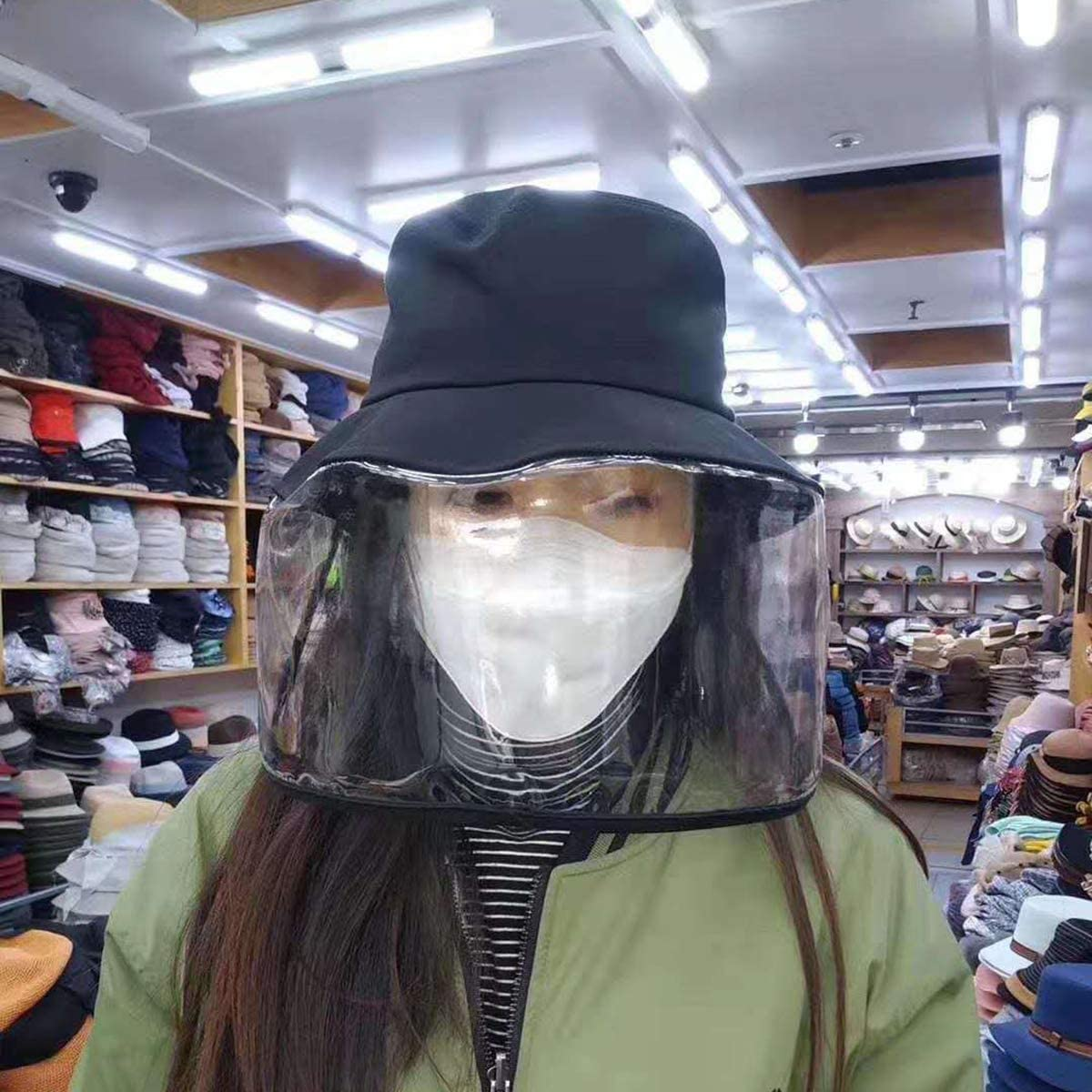 DaMohony Unisex UV Protection Bucket Hat with Face Shield Anti-Droplet Dustproof Anti Saliva Fog Hat Protection Fishing Cap Black