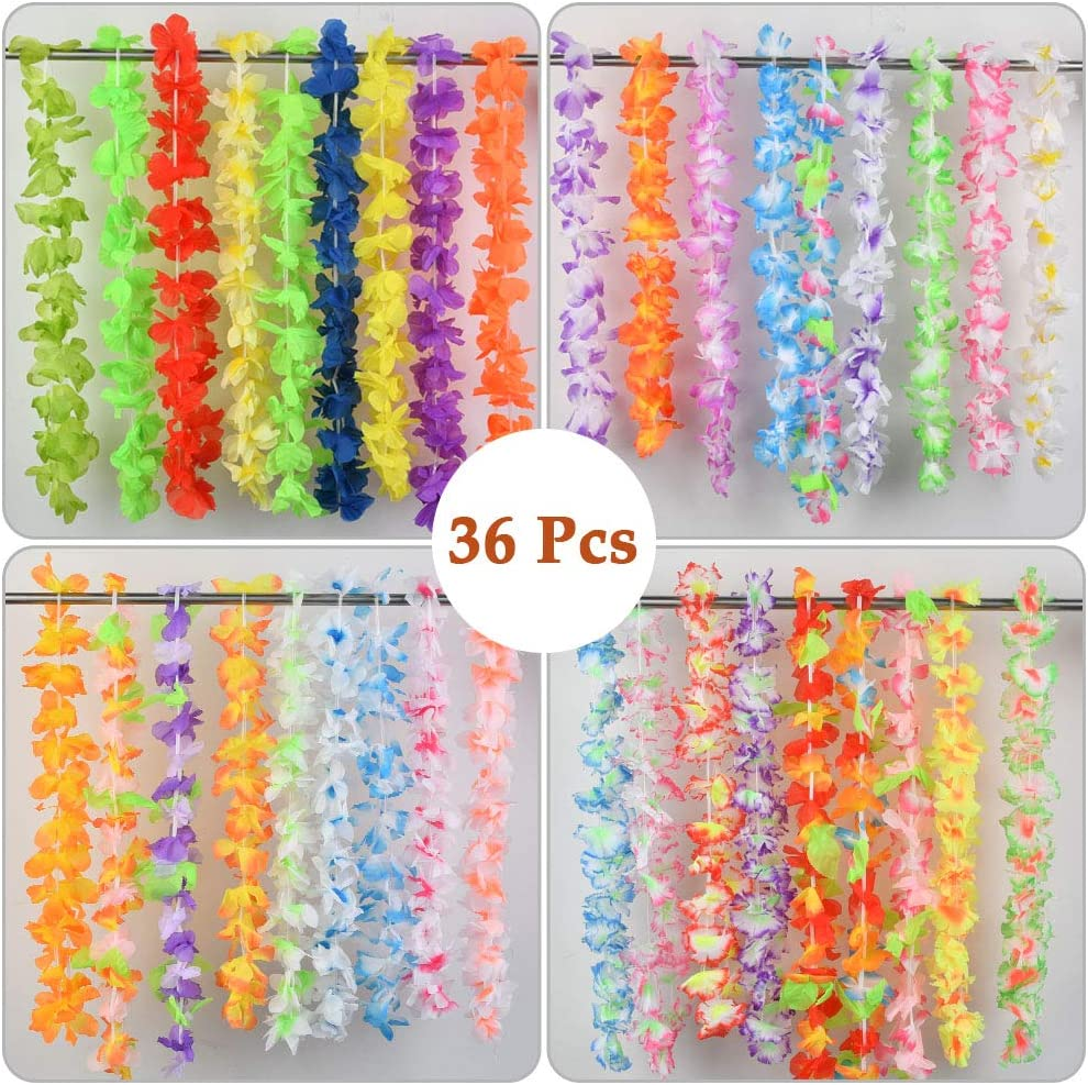Hawaiian Leis Necklace Tropical Luau For Luau Beach Birthday Party Decorations And Party Supplies Tropical Hawaiian Luau Flower 36 Counts Hawaiian Flower Leis