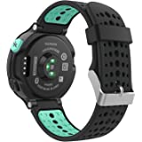 Garmin Forerunner 235 Accessories, MoKo Soft Silicone Replacement Watch Band with Tools ONLY for Garmin Forerunner 235 Smart Watch - BLACK & Mint GREEN