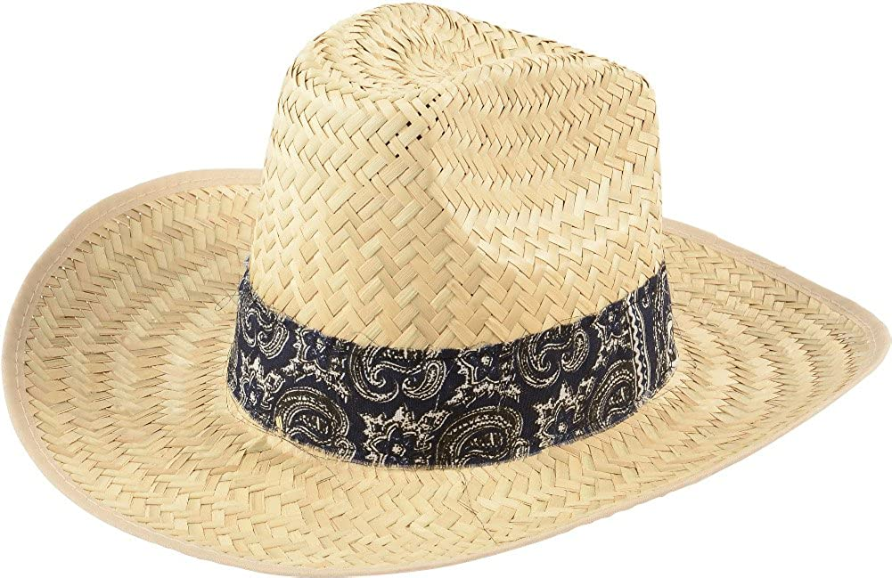 0453ae9a46873 U.S. Toy Adults Woven High Crown Cowboy Hat with Blue Bandana Trim Costume  Accessory